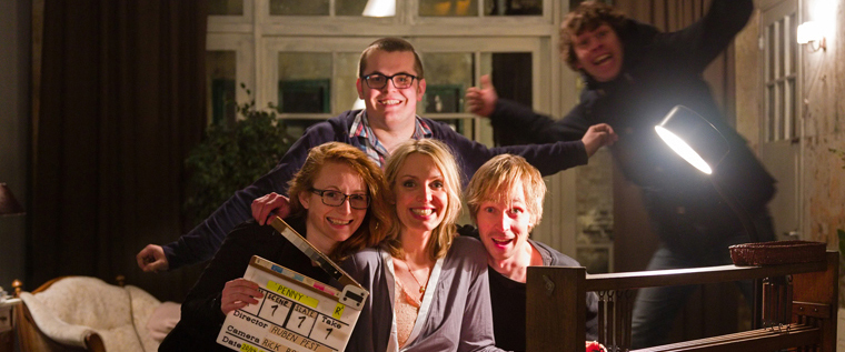 Crew of 'Penny, the moving painting'. From left to right: 1st assistent Leontien Smit, actress Mirja Romeyn, director Ruben Pest and behind them production assistent Wesley Dupon. Jumping in the frame cinematographer Rick Roos.